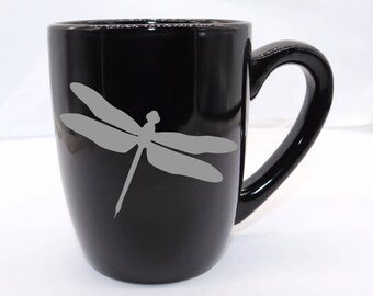 Customizable Dragonfly Coffee Mug - dragonfly lover, coffee mug, tea cup, insect, gardener, beneficial bug, oding, active, wildlife, pond