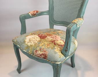 Chair Cottage style shabby chic cane back painted upholstered floral armchair