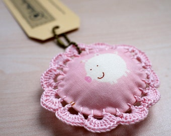 Fabric Keychain with Crochet Lace - Pig