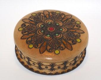 Round Wooden Jewelry Casket Ornament wood box Pyrography Trinket Box Hand Tooled Handmade Box hand carved hand painted Polish Folk box
