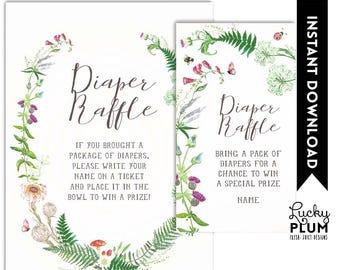 Wildflower Diaper Raffle / Wild Flower Diaper Raffle / Woodland Baby Games / Floral Botanical / Digital Printable WF01