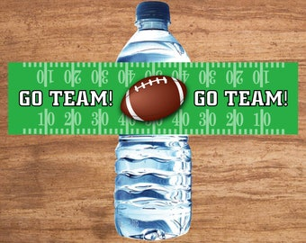 Instant Download Football Party Water Bottle Labels