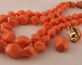 CORO JEWELRY SET, Vintage 1950s Double Strand Necklace and Matching Clip Earrings, Molded Thermoplastic, Tangerine Coral Color