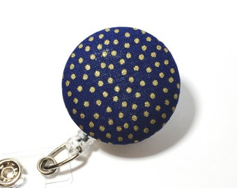 Navy and Gold Badge Reel Retractable ID Badge Reel ID Badge Holder Name Badge Clip Badge Pull Nurse Badge Reel Retractable Badge Holder