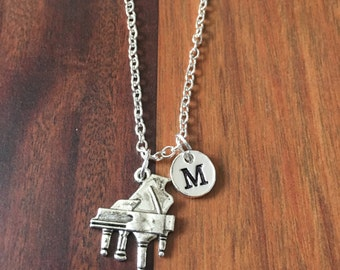 Piano initial necklace, piano jewelry, music jewelry, gift for musician, silver piano necklace, gift for pianist, musician jewelry