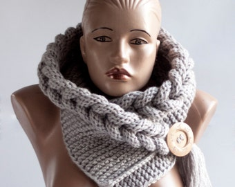 HOT Hooded Scarf, Scarf, Hood, scarf hooded, Chunky scarf, Wool cowl, LoveKnittings