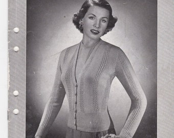ON SALE Vintage 1940s - Paton's Knitting Pattern No 343 For Women/Ladies - Original Pattern