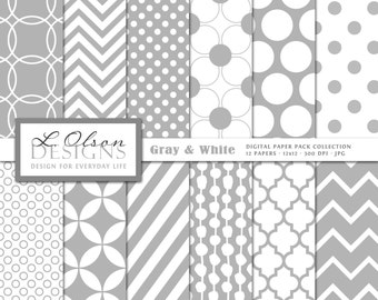 Gray and White Paper Pack - 12 digital paper pattern - INSTANT DOWNLOAD