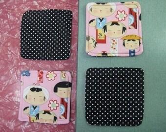 Drink Coasters - Set of 4 - Pink Kokeshi Japanese Dolls