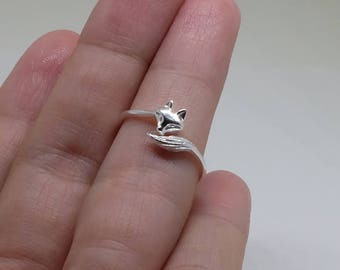 Fox Sterling Silver Band, Stacking Ring, Midi Rings, 925 Sterling Silver Ring