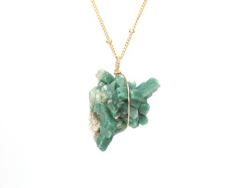 Heulandite necklace - zeolite necklace - raw crystal necklace - mineral necklace - healing crystal necklace - gold filled satellite chain