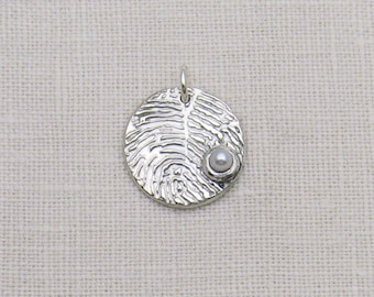 Fingerprint Jewelry, Fingerprint Charm with Pearl, Fingerprint Pendant, Silver Fingerprint, June Birthstone, Pearl Jewelry, Personalized