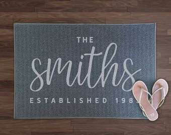 Custom doormat, family established, custom door mat, personalized door mat, personalised doormat, rustic rugs, custom welcome mat
