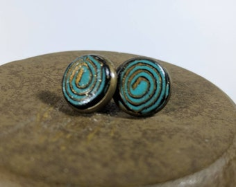 Turquoise Studs, Gold, Turquoise, Black Stud Earrings, Swirled Studs, Polymer Clay Studs, Lightweight Studs