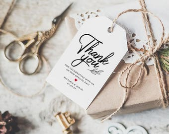 Thank You Tag, Gift Tags, Wedding Thank You Tags, Wedding Favor, Thank You Printable, Favor Tag, DiY Kraft Printable tags, LDS_76