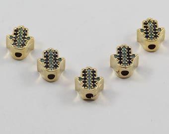 5 Pcs Micro Hamsa Beads, Rose Gold Plated, Micro Pave Hamsa Beads, Bracelet Connectors, CZ Space Bead, Cz Pave Women Bracelet, MMT60