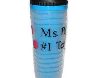 Personalized Travel Mug, Light Blue With Dots For a Fun Design, Travel Mug, Tumbler, Water Bottle BPA Free, Teacher Gift