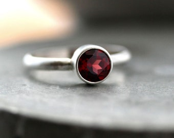 Cranberry Garnet Ring, Faceted Gemstone Sterling Silver Ring Dark Cherry Red Garnet Jewelry January Birthstone - Made to Order