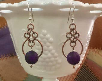 Purple , copper and sterling silver earrings