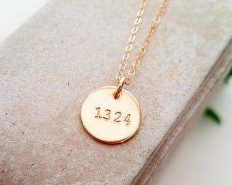 Personalized Necklace, Number Necklace, Badge Number, Special Number, 143, 14k Gold Fill Necklace, Charm Necklace