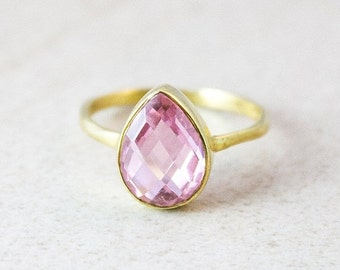 Gold Pink Quartz Ring - Princess Pink Quartz - Teardrop Stacking Ring