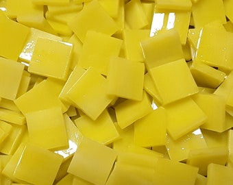 Canary Yellow Streaky Stained Glass Mosaic Tiles