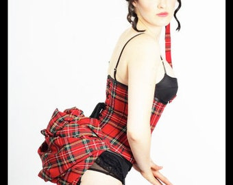 Bespoke Red Scottish Tartan Plaid Underbust Corset