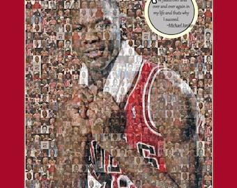 "Michael Jordan Photo Mosaic Print Art using 50 different player images of Jordan. 8x10"" Matted."