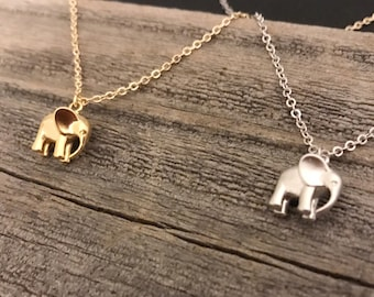 Gold elephant necklace silver elephant necklace