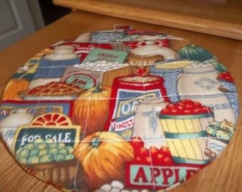 Quilted Pot Holders, Country Store, Hot Pads, Country Potholders, Trivet Round, Double Insulated, Kitchen Decor, Hostess Gift