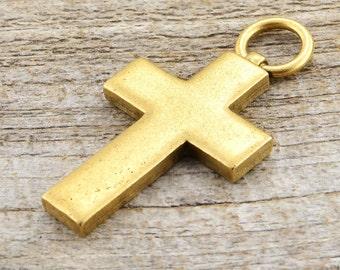 Cross Pendant, Large Cross, Gold Cross, Religious Cross, Antiqued Gold Cross, Decorative Cross, Cross Charm