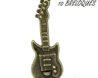 set of 10 charms guitar music bronze (T17)
