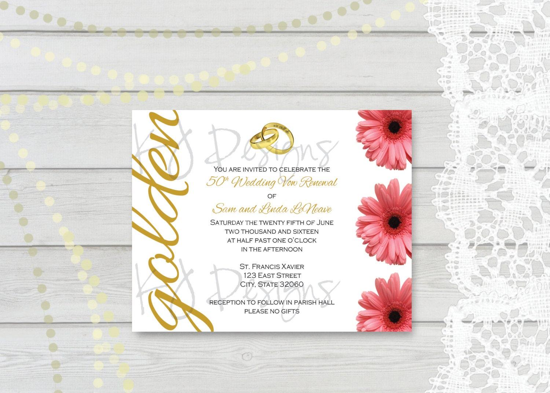 50th Wedding Vow Renewal Invitations: 50th Vow Renewal Invitation 5x7 Gold Theme 50th