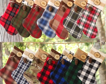 Set of 6 Personalized Christmas Stocking with Wood Slice Name Tag and Redwood Cone Rustic Woodland Christmas Plaid Flannel Ticking Christmas