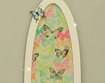 Summer Butterfly Fairy Door, Indoor Fairy Door, Skirting Board Fairy Door, Shelf Sitting Fairy Door, Handmade by Jennifer