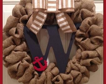 SPRING SPECIAL!! Nautical Burlap Wreath with Initial and Bow- Beach Wreath- Front Door Wreath-Front Door Wreath-Summer Wreath