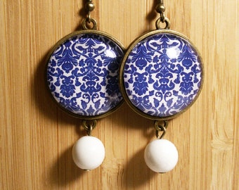 Damask - Pendant Earrings with 25 mm cabochons