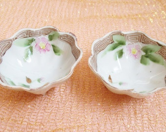 Asian Sake Cups (2) Guilded Vintage Japanese Bowls Handpainted Pink Green Floral Gold Guilded Footed Bowl Japan Nippon Style Vanity Trinket