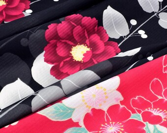 Fabric Japanese kimono red black white floral polyester x 50cm