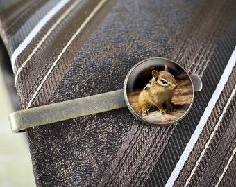 Pince à cravate Chipmunk - Woodland Animal barre de cravate, pince à cravate Nature, tamia bijoux pour hommes, bijoux bois faune, pince à cravate Woodland