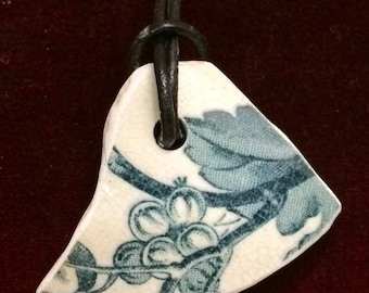 Vintage Thames foreshore green and white pottery shard pendant