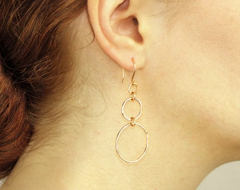 3 Hoop Earrings Circle Hoop Earrings Delicate Hammered earrings Dainty Minimal Everyday Triple Hoop earrings Silver Gold Gift for women