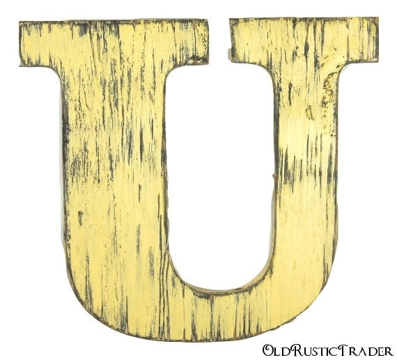 Rustic wood letter U wall hanging 12 inch letter wall decor