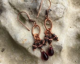 Copper and garnet glass chandelier earrings
