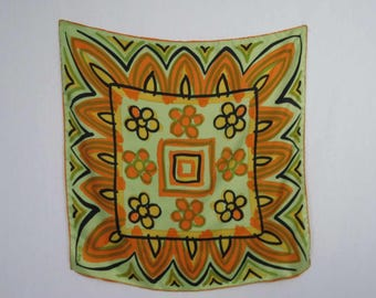 Vintage Scarf - Vera Scarf - Green And Orange Stylised Floral - Ladybird Scarf