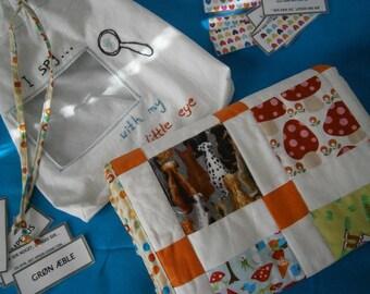 I Spy Decke, Spielset,mit Karten, kleine Decke im Beutel , Patchwork, handgearbeitet