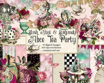 Blush, Mint and Burgundy Alice Tea Party digital scrapbooking kit, Alice in Wonderland clipart, blush pink, tea party birthday digital paper