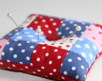 spotty patchwork pincushion
