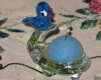 Vintage Pincushion Blown Glass Blue Bird on a Turtle and 2 Glass Head Pins