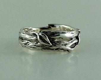 Sterling Silver Leaf & Twig Wedding Band, Tree Branch Ring, Leaf Ring, Twig Ring, Twig and Leaf Ring, Mens Wedding Band, Branch  Band